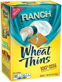 Taste the classic ranch flavor. Wheat Thins Ranch Snacks have whole grain per serving. Nutritionists recommend eating 3 or more servings of whole grain foods per day (about whole grain per serving or at least per day). Whole Grain Wheat, Wheat Thins, In Case Of Emergency, School Snacks, Corn Syrup, Ranch, Crackers, Pantry