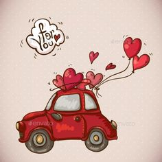 Doodle Greeting Card Valentine'S Day With A Red Car And Balloons Hearts, Vector Illustration - 249239422 : Shutterstock Valentines Watercolor, Valentines Day Drawing, Valentines Art, Happy Valentines Day, Valentines Day Doodles, Valentine Greeting Cards, Doodle Art, Cute Drawings, Creative