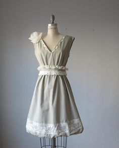 Dress / pale sage / lace / A line  / Romantic / Dreamy / Soft  / Sleeveless / Bridesmaid / party / Ready for shipping. $89.99, via Etsy.
