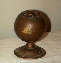 C1875 Antique cast Iron Penny Bank Globe w Bell