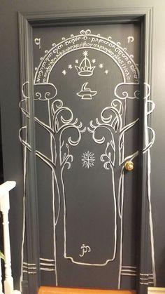 Lord Of The Rings Mines Moria Doors Durin Painted On Bedroom Door For My Daughters Birthday Present