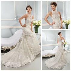 high neck halter wedding dresses | ... Latest Lace Crystal High Neck Halter Wedding Dresses 2014 Foshan
