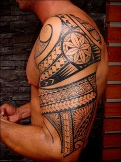 Arm Tattoo of Maori Polynesian style for Men Hawaiian tattoos designs #hawaiiantattoosideas