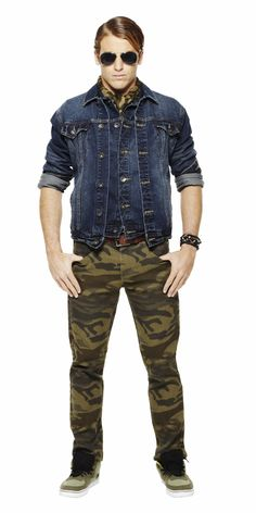 Don't be afraid to wear double denim. With aviators and camo pants, it creates a look that's both edgy and sophisticated.