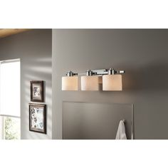 Image On Shop allen roth Light Grayson Polished Chrome Bathroom Vanity Light at Lowes