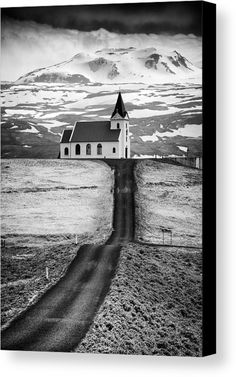 Mountain Church Canvas Print for sale. Black and white Fine Art Photography with great contrast and tones: Road leading to a church in the mountains. Ingjaldsholl church, Snaefellsnes, Iceland. The image gets printed on one of our premium canvases and then stretched on a wooden frame, click through and check out your options. 30 days money back guarantee. Matthias Hauser - Art for your Home Decor and Interior Design.