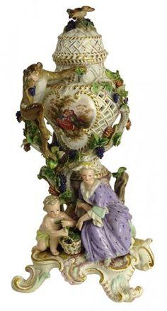 19th Century Meissen Porcelain Figural Potpourri Urn.