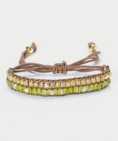 Gold & Brown Beaded Cord Bracelet