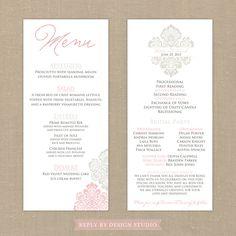 Wedding Menu and Program (Romantique) - Digital Files/DIY (Customizable Damask Design). $20.00, via Etsy.