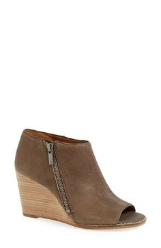 Free shipping and returns on Lucky Brand 'Jaspah' Peep Toe Wedge Bootie (Women) at Nordstrom.com. A suave leather bootie gets a chic upgrade with a flirty open toe and a stacked wedge heel.