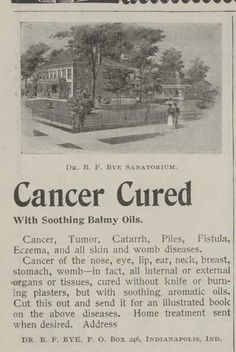 1898 Cancer Cure Quackery Ad