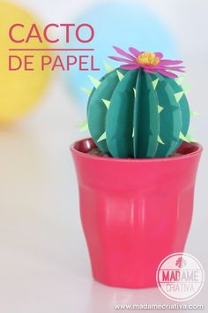 Paper Cactus – How Paper Cactus for Home and Party Decoration (M … - Cactus DIY Paper Cactus, Paper Plants, Diy For Kids, Crafts For Kids, Diy Tumblr, Diy Papier, Party Decoration, Camping Crafts, Partys