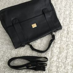 Proenza Schouler inspiring Taraus USA 80s black leather briefcase bag by ENGARLAND on Etsy