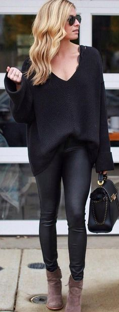 #winter #fashion / Black V-neck Knit + Leather Leggings + Black Leather Tote + Brown Booties