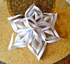 Grab your supplies for GIANT Snowflakes! 6 p ieces of printer paper cut into a square (8 1/2 x 8 1/2 inches) Scissors Scot ch tape ...