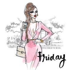 Well, hello Friday! Time to be extra awesome.  #elisketches #fashionillustration #friday #fashion #fashionsketch #sketch #art #artph #fashionart #fashionillustrator #pretty #vogue #elle #fashionmodel #oot #lookbook #pink #glamour #brunette #redlipstick #makeup #hairstyle #mac #chanel #prada #louboutin #tomford