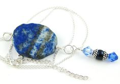 Lovely Lapis Lazuli Slab Gemstone and Swarovski by OklahomaMama, $30.00