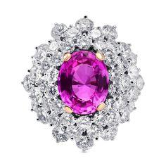 9.3Cts Sapphire Side Diamonds Extraordinary  Ring Set in 18K  White Gold #Leibishco