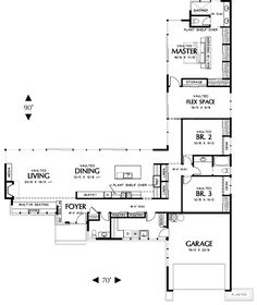 L-shaped, single level ranch style house facade is wide, - House Plans, Home Plan Designs, Floor Plans and Blueprints Garage House Plans, Ranch House Plans, House Floor Plans, Car Garage, Bedroom Floor Plans, Contemporary House Plans, Modern House Plans, Small House Plans, The Plan
