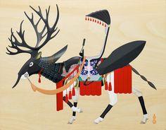 Tenmyouya Hisashi 天明屋尚 White Deer with Black Lacquered Helmet in the Shape of Reindeer 2013