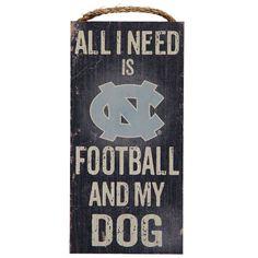 "North Carolina Tar Heels 6"" x 12"" Football and My Dog Sign Basketball Season, Tent Sale, University Of North Carolina, School Items, Tar Heels, Dog Signs, Football, Dogs, Soccer"