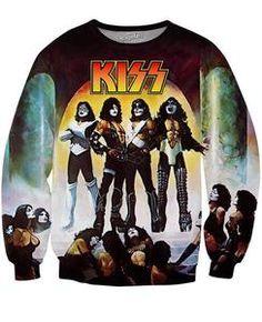 Kiss Rock Band Gene Simmons UGLY CHRISTMAS SWEATER PRINT Long Sleeve Poly Shirt