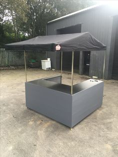 Small Flatpack Big Kahuna Street Food Stall. 6' x 6' with stainless steel counters