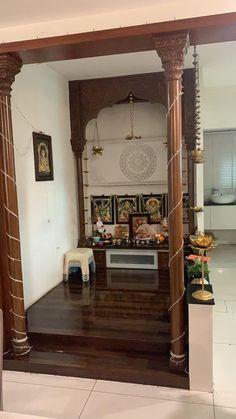 All Indian Home Decor Pooja Room Door Design, Home Room Design, Home Interior Design, Living Room Designs, Temple Design For Home, Indian Home Design, Indian Home Interior, India Home Decor, Ethnic Home Decor