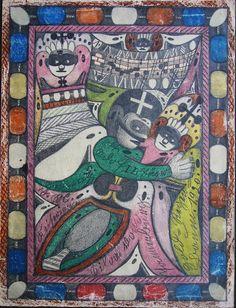 """Farbstiftzeichnung, 25,5 x 34 cm von Adolf Wölfli, der von 1865-1930 lebte.  Diese Zeichnung von 1920 ist als """"Katalog"""" vielleicht einzigartig und speziell  interessant, denn sie zeigt gleichzeitig sozusagen das ganze kreative Universum Wölflis.  Innerhalb ihres ornamentalen Rahmens kommen alle für Wölfli typischen Gesichter und seine Tierfiguren zwischen Vogel und Fisch vor und Wölfli hat in einzelne Farbflächen Texte hineingeschrieben, und auch Musiknoten fehlen nicht."""