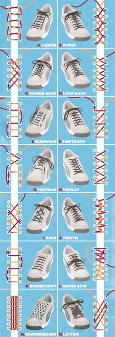 Ways to tie shoelaces..