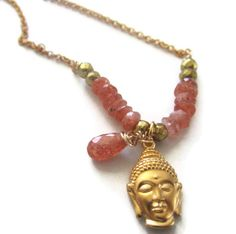 Golden Buddha head and Sunstone Necklace SOLD