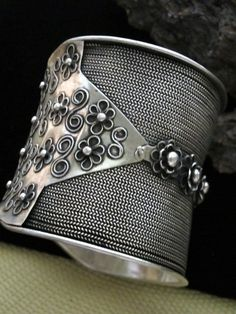 Large Weave Cuff Bracelet handcrafted Hmong (Miao) Jewelry...ornately made in antiqued Miao Silver
