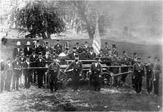 Photo of Fire Protection Company #2, taken on an island in the Grand River - c. 1860
