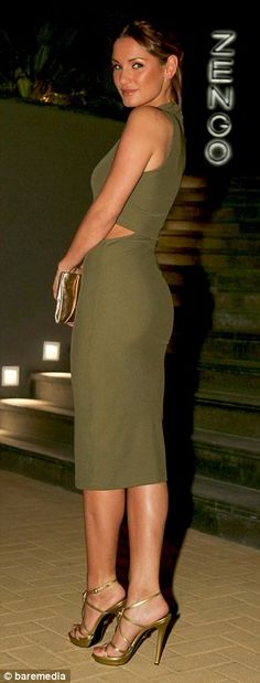 Sam Faiers displays her svelte frame in a green cut away midi dress | Daily Mail Online