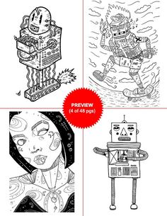 Doodlers Anonymous Blinking Lights And Beeping Parts A Robot Coloring Book Collection Mini