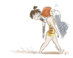 They are so cute!!    Eep takes her Guy for a stroll.