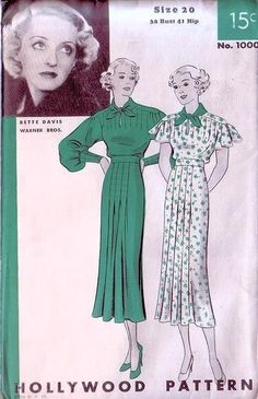 1930s HOLLYWOOD PATTERN 1000 SLIM FRONT INVERTED PLEATS DRESS KEYHOLE NECKLINE FANTASTIC 2 SLEEVE STYLES FEATURING MOVIE STAR BETTE DAVIS