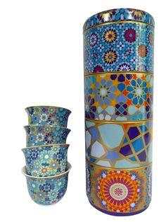 Boite bleue design oriental avec 4 tasses à café - Oranjade