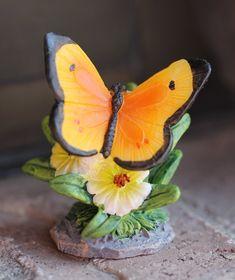 Miniature Butterfly Figurines Butterfly Gifts, Butterfly Art, Solar Fairy House, Fairy Houses, Stone Bird Baths, Mermaid Wall Decor, Mermaid Ornament, Fairy Gifts, Miniature Fairy Gardens