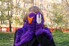 "Knitted Wool Yarn Crarf and Mittens ""Fox and Bunny"" For Her by LeSiCraft on Etsy"
