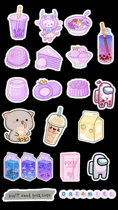 Preppy Stickers, Cute Laptop Stickers, Kawaii Stickers, Anime Stickers, Cool Stickers, Printable Stickers, Cute Food Drawings, Cute Animal Drawings Kawaii, Kawaii Art