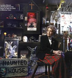 Lorraine Warren photographed in the Warren's Occult Museum in her home in Monroe, Connecticut.