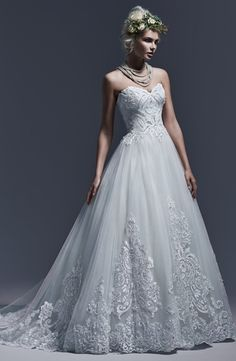 Strapless Princess/Ball Gown Wedding Dress  with Natural Waist in Beaded Embroidery. Bridal Gown Style Number:33193608