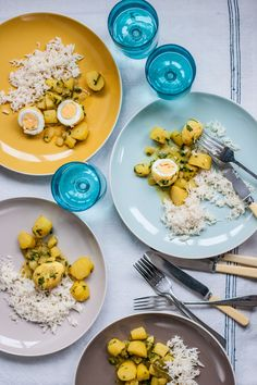 This recipe is a great introduction to curries, and comes from Adam's wife, Asha, who is of Bengali descent. The Bengali style is to cook rice without salt, as it then balances with the curry, but add a little salt if you prefer.