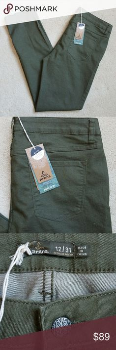 PrAna Kayla Jeans Cargo Green 12R Organic Cotton, Mid Rise, Fitted with Regular Inseam Prana Jeans Straight Leg