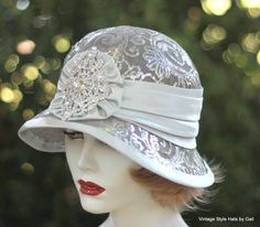 Custom Made 1920'S Vintage Style Cloche Wedding Hat For Mother Of The Bride, Great Gatsby Party In Silver