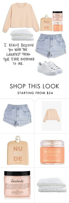 """""""color scheme"""" by perfectjackbgg ❤ liked on Polyvore featuring Monki, COSTUME NATIONAL, Sara Happ, philosophy, INDIE HAIR, Crate and Barrel and adidas Originals"""