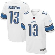 pretty nice d6926 73356 Men Nike Detroit Lions Nate Burleson Elite White NFL Jersey Sale nfl jersey  with captain patch