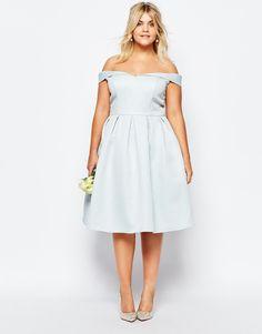 Image 4 of Chi Chi London Plus Bardot Neck Midi Prom Dress