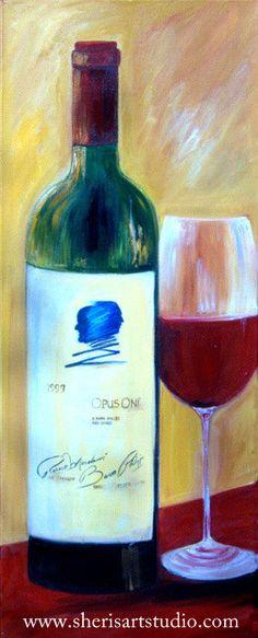 Original Acrylic painting Wine painting Opus by SherisArtStudio, $599.00#painting by Sharareh #www.sherisartstudio.com
